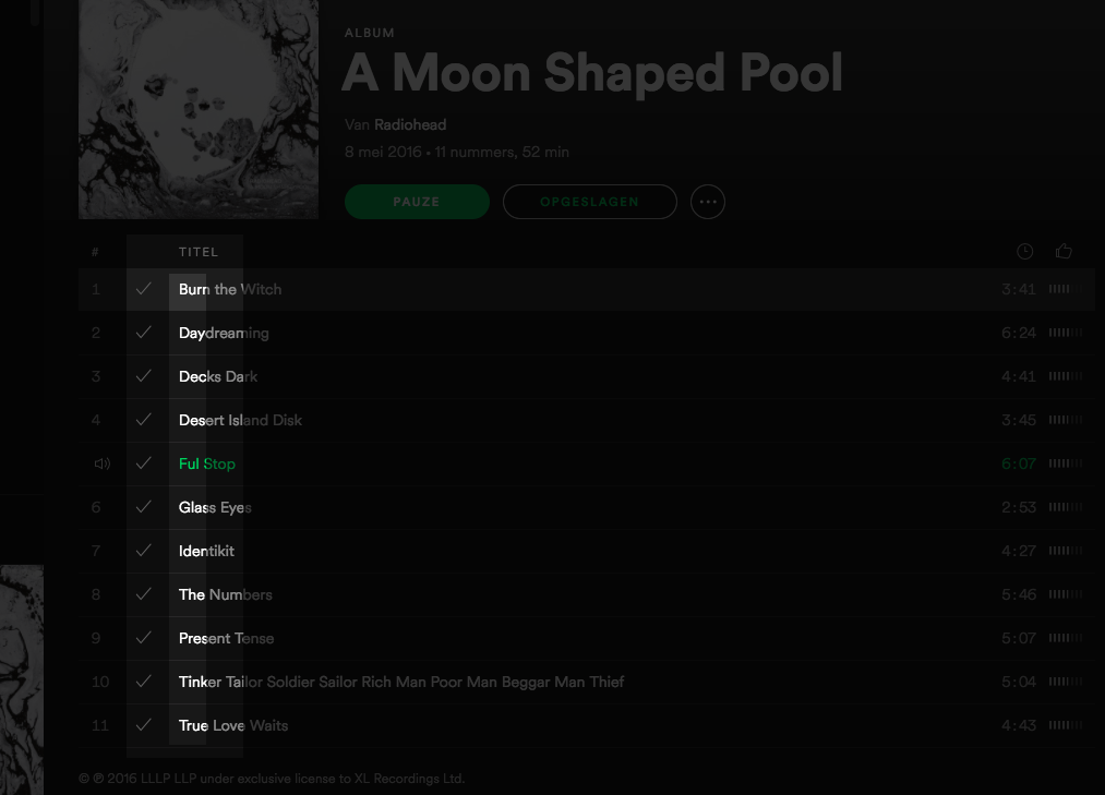 Tracklist Radiohead - A Moon Shaped Pool